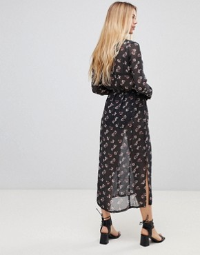 photo Maxi Shirt Dress by Girls on Film, color Black Floral Print - Image 2