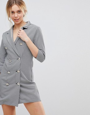 photo Blazer Dress in Dogtooth by Girls on Film, color Navy White - Image 1