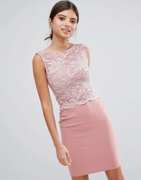 photo Midi Dress with Lace Top by Girls on Film, color Rose - Image 1