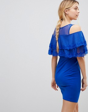 photo Cold Shoulder Midi Dress with Tipped Frill by Girls on Film, color Cobalt Blue - Image 2