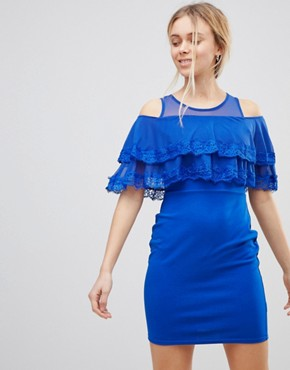 photo Cold Shoulder Midi Dress with Tipped Frill by Girls on Film, color Cobalt Blue - Image 1