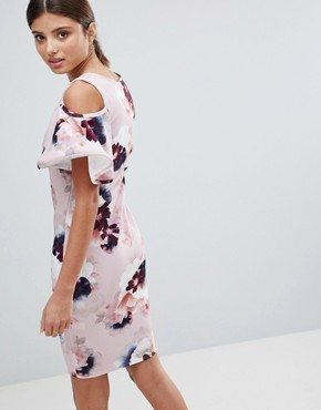 photo Floral Dress with Frill Sleeve Detail by Girls on Film, color Pink Navy Burgundy Print - Image 2