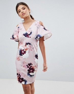 photo Floral Dress with Frill Sleeve Detail by Girls on Film, color Pink Navy Burgundy Print - Image 1