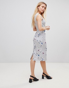 photo Floral Midi Dress with Lace Top by Girls on Film, color Grey - Image 2