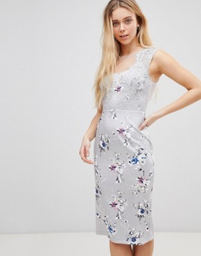 photo Floral Midi Dress with Lace Top by Girls on Film, color Grey - Image 1