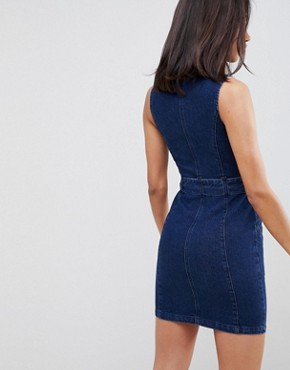 photo Denim Sleeveless Dress in Indigo with Belt by ASOS DESIGN, color Indigo - Image 2