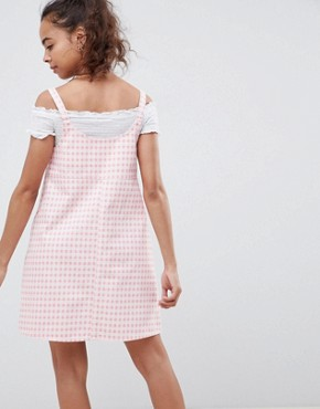 photo Denim Gingham Pinafore Dress by ASOS DESIGN Petite, color Pink - Image 2