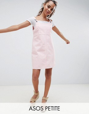 photo Denim Gingham Pinafore Dress by ASOS DESIGN Petite, color Pink - Image 1