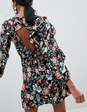 photo Printed Mini Dress with Puff Sleeves and Open Back by Liquorish, color Multi - Image 2