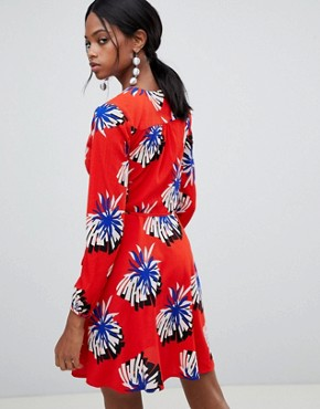 photo Floral Print Wrap Dress by Liquorish, color Red - Image 2