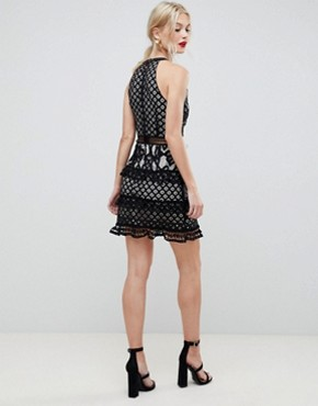 photo Layered Lace Dress with Lace Up Front by Liquorish, color Black - Image 2