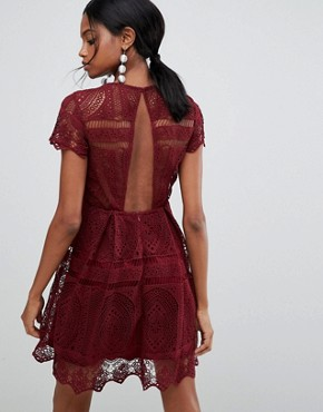 photo Lace Skater Dress with Open Back by Liquorish, color Red - Image 2