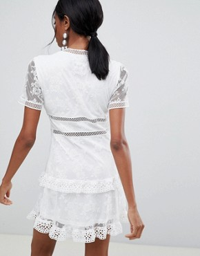 photo Lace Trim Dress by Liquorish, color White - Image 2