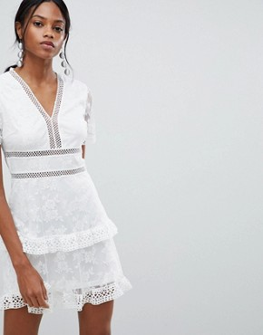 photo Lace Trim Dress by Liquorish, color White - Image 1