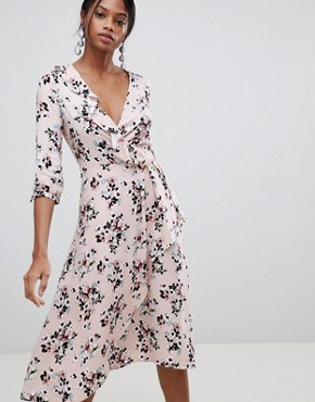 photo Floral Print Wrap Midi Dress by Liquorish, color Pink - Image 1