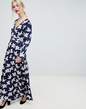 photo Floral Print Wrap Maxi Dress by Liquorish, color Navy - Image 1