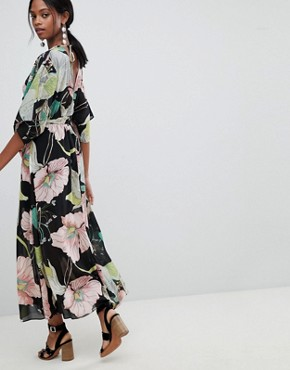 photo Floral Kimono Sleeve Maxi Dress with Open Back by Liquorish, color Multi - Image 2