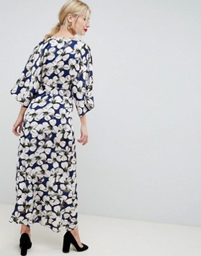 photo Floral Kimono Sleeve Maxi Dress by Liquorish, color Multi - Image 2