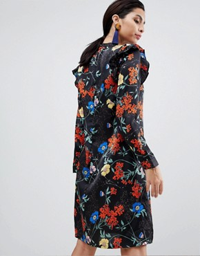 photo Relaxed Floral Dress with Frill Detail by Liquorish, color Black - Image 2