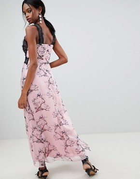 photo Bird Print Maxi Dress with Lace Inserts by Liquorish, color Pink - Image 2