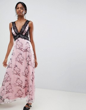 photo Bird Print Maxi Dress with Lace Inserts by Liquorish, color Pink - Image 1
