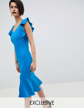 photo Midi Pencil Dress with Ruffle Detail and Open Back by True Violet, color Cobalt - Image 1