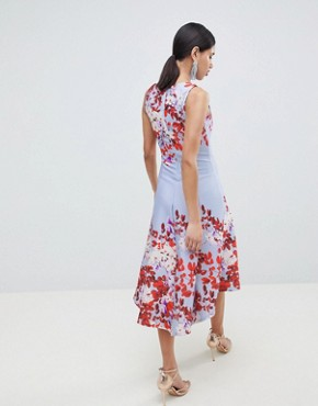 photo Fit and Flare Midi Skater Dress with Placement Print by True Violet, color Blue Floral - Image 2