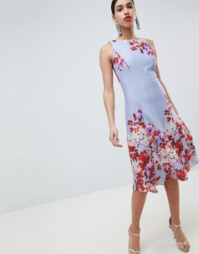 photo Fit and Flare Midi Skater Dress with Placement Print by True Violet, color Blue Floral - Image 1