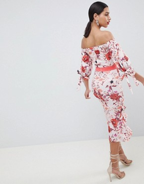 photo Bardot Midi Dress with Tie Sleeve & Pephem by True Violet, color Red Floral Print - Image 2