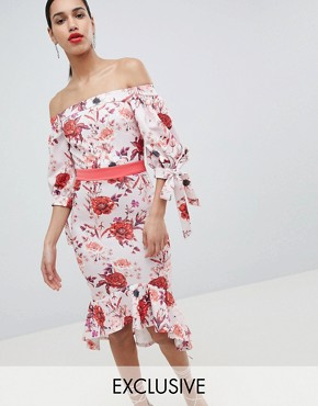 photo Bardot Midi Dress with Tie Sleeve & Pephem by True Violet, color Red Floral Print - Image 1