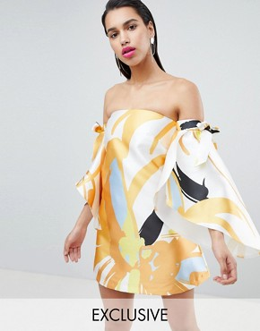 photo Off Shoulder Dress with Tie Sleeve by True Violet, color Ditsy Floral - Image 1