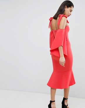 photo Bardot Midi Dress with Pephem by True Violet, color Coral Red - Image 2