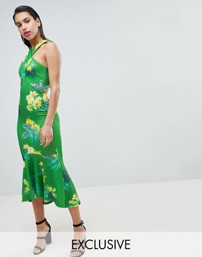 photo Cross Wrap Midi Dress with Fish Tail Hem by True Violet, color Green Multi - Image 1
