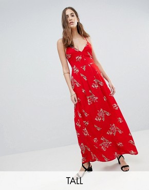photo Floral Cami Maxi Dress by Parisian Tall, color Red - Image 1