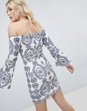 photo Off Shoulder Embroidered Dress by Parisian Tall, color Navy - Image 2