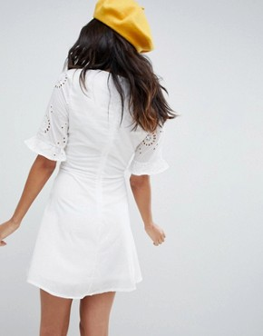 photo Broderie Skater Dress with Frill Sleeve by Parisian Tall, color White - Image 2