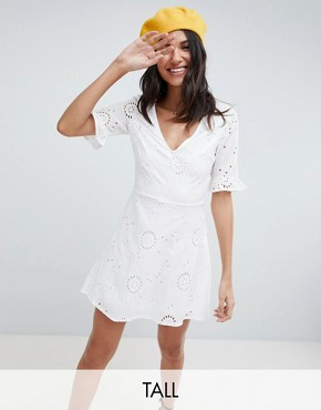photo Broderie Skater Dress with Frill Sleeve by Parisian Tall, color White - Image 1