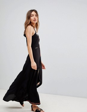 photo Embroidered Maxi Beach Dress by Surf Gypsy, color Black - Image 4