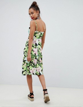 photo Button Through Cut Out Midi Sundress in Tropical Print by ASOS DESIGN Petite, color Multi - Image 2