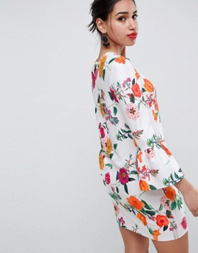 photo Botanical Shift Dress with Fluted Sleeves by ASOS DESIGN, color Multi - Image 2