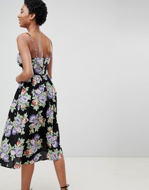 photo Cut Out Midi Sundress in Dark Floral Print with Bow by ASOS DESIGN Tall, color Multi - Image 2
