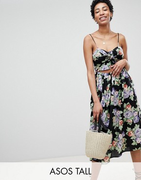 photo Cut Out Midi Sundress in Dark Floral Print with Bow by ASOS DESIGN Tall, color Multi - Image 1
