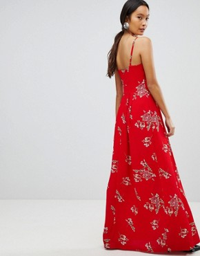 photo Floral Cami Maxi Dress by Parisian, color Red - Image 2