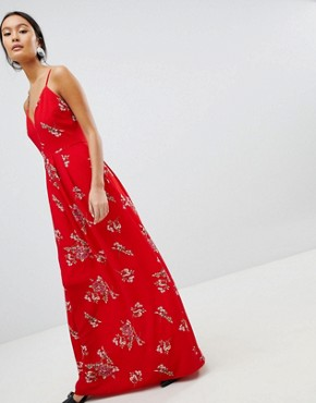 photo Floral Cami Maxi Dress by Parisian, color Red - Image 1
