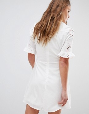 photo Broderies Skater Dress with Frill Sleeve by Parisian, color White - Image 2