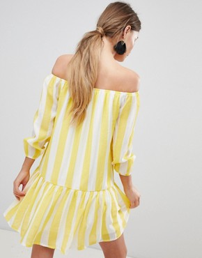photo Off Shoulder Stripe Swing Dress by Parisian, color Yellow - Image 2