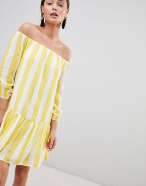 photo Off Shoulder Stripe Swing Dress by Parisian, color Yellow - Image 1