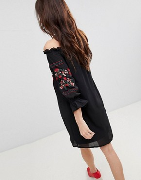 photo Off Shoulder Embroidered Dress by Parisian, color Black - Image 2