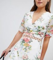 photo Floral Dress with Lattice Inserts by Parisian, color White - Image 3