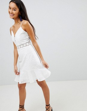 photo Broderie Cami Dress with Frill Hem by Parisian, color White - Image 1